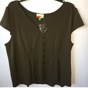 ModCloth Olive Green Pin-tuck Top Size 2x